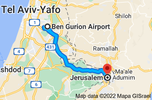 Map from Ben Gurion Airport, 7015001 to Jerusalem